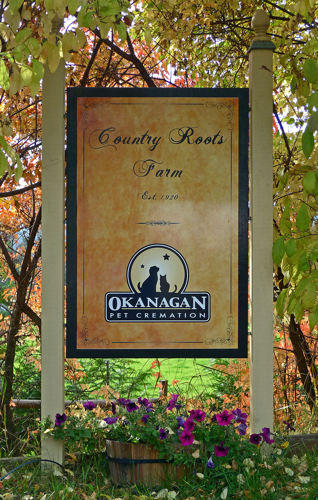 Okanagan Pet Cremation Road Sign