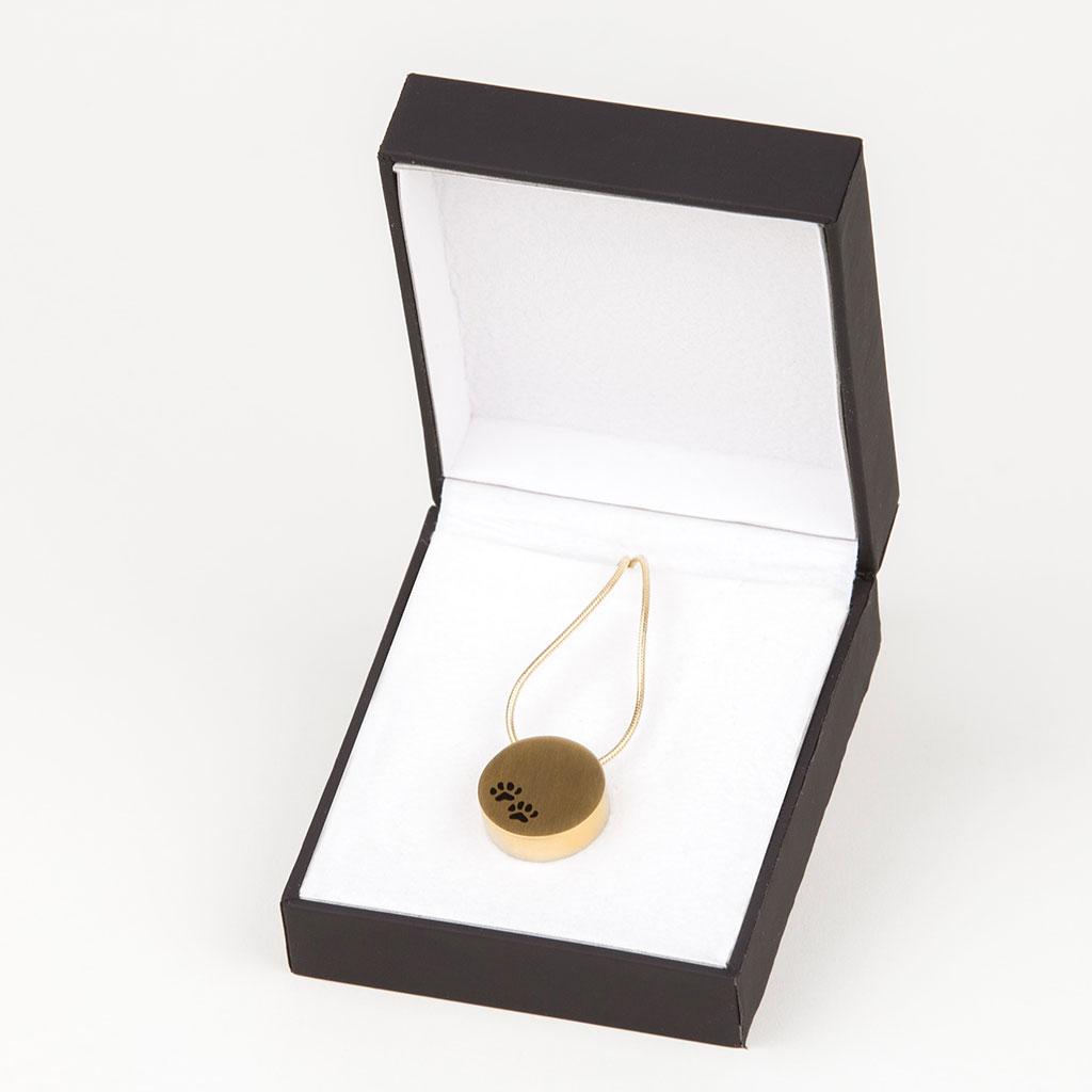J-17 - Round Paws Bronze Necklace Urn